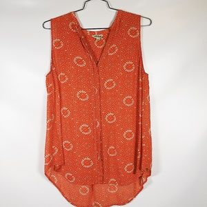 Lucky Brand | Batik Dot Orange Top sz L